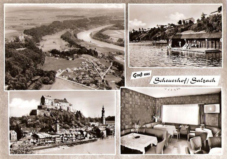 Postkarte des ehemaligen Cafe/ Fremdenzimmer Maier in Scheuerhof aus dem Jahr 1965
