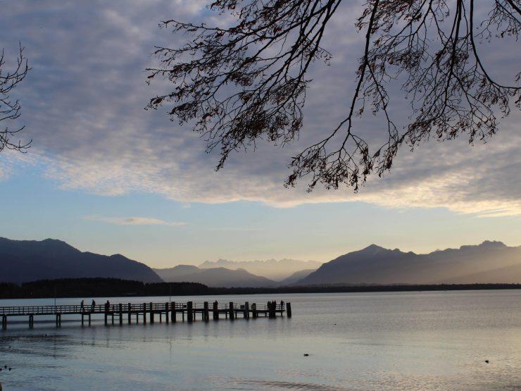 Sonnenuntergang am Chiemsee im Chiemgau